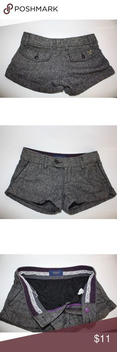 """American Eagle Wool Blend Shorts Size 2 American Eagle Wool Blend Shorts Size 2  Shell 54% Wool 40% Polyester 2% Acrylic Lining 100% Acetate  Measurements Laying Flat * Waist 31"""" *Out seam 9"""" *In Seam 2.5"""" American Eagle Outfitters Shorts"""