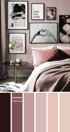 Bedroom Colour Palette, Bedroom Wall Colors, Bedroom Color Schemes, Room Ideas Bedroom, Home Bedroom, Bedroom Decor, Colour Combination For Bedroom, Romantic Bedroom Colors, Beautiful Bedrooms