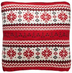 Fair Isle Red with Grey and Ecru 100% Cotton Pillow 18
