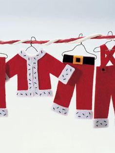 Felt Santa Wardrobe Ornaments - could make to use as embellishment on cards too - bjl