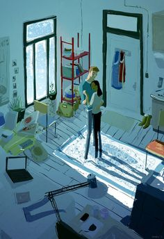 Inside, on a snowy day: The snow was falling by PascalCampion on deviantART