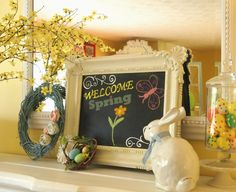 lovely-minimalist-easter-mantel-decors-with-welcome-spring-classic-white-frame-engraved-chalkboard-light-blue-grapevine-wreath-with-rolled-toile-fabric-flowers-glass-apothecary-jar-with-polka-dot-co.jpg (2405×1958)