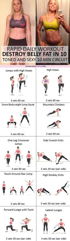 Belly Fat Workout - #womensworkout #workout #femalefitness Repin and share if this workout transformed your body! Click the pin for the full workout. Do This One Unusual 10-Minute Trick Before Work To Melt Away 15+ Pounds of Belly Fat
