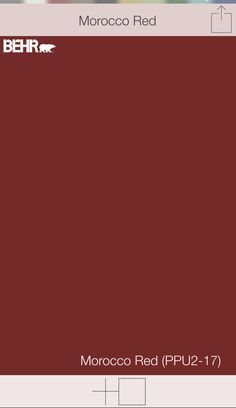"""Red front door colors   Morocco Red PPU2-17   Behr paints   SwatchDeck app   Use the """"Search"""" function in app to access the entire collection of front door colors.  Just type """"front door"""""""