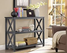 #homeoffice #trendy This three tier sofa table showcase clean lines that create a fresh urban look. This table features a beautiful grey #weathered finish, x-des...