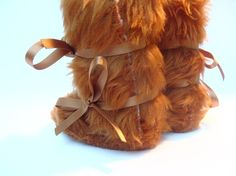 SALE SALE SALE 10% discount on any order!! Use Code FUNKYS10 at the checkout. www.funkyshapes.etsy.com   Mr Teddy Bear Caramel Faux Fur Baby Boots Mukluk by funkyshapes, $32.95