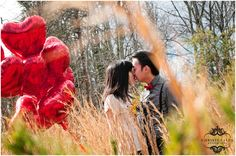 sweet engagement shoot with red heart balloons, Christi Falls Photography