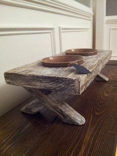 Raised dog bowl, whitewashed, reclaimed, distressed, wood feeder with ceramic bowls