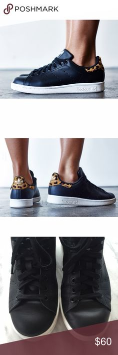 Adidas Leather + Leopard Print Stan Smith Sneakers •Iconic Stan Smith sneakers in black leather with leopard print accents.  •Women's size 6.5, runs large and will be best for a 7.  •Good used condition: Creasing on the toe box, wear on the soles. Original box will be included.  •NO TRADES/HOLDS/PAYPAL/MERC/VINTED/NONSENSE. Adidas Shoes Sneakers