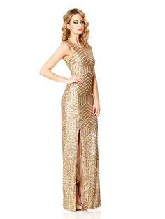 Gold sequin maxi dress uk