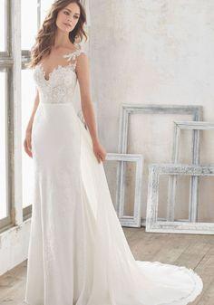 Blu by Morilee Marisol 5503 Crepe Chiffon Sheath Wedding Dress Making A Wedding Dress, Wedding Dress Chiffon, Dream Wedding Dresses, 2017 Bridal, Bridal Gowns, 2017 Wedding, Fall Wedding, Dress Out, Lace Dress