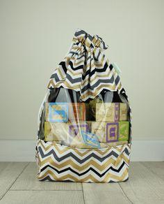 Drawstring Toy Storage Bag Handmade With Clear Vinyl Window / Medium / Gold  Grey Chevron / Toy Storage Bag Kids Storage Travel Toy Bag