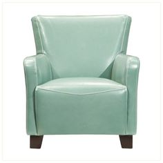 Phoebe Leather Accent Chair | Luxurious leather deals a splash of color thanks to its sky blue hue. #MyRaymourAndFlaniganSpringFling