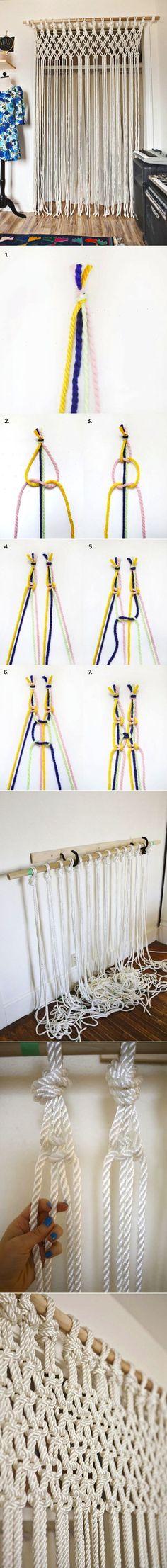 so basteln sie einen makramee vorhang makramee vorhang vorh nge und knoten. Black Bedroom Furniture Sets. Home Design Ideas