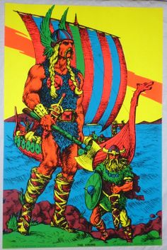 Vintage 1970 Houston BlackLight Poster Co THE VIKING HB82 Psychedelic Black Light. $19.99, via Etsy.