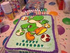 Homemade Yoshi Birthday Cake: I made this Yoshi Birthday Cake for my son's 11th birthday. I had my son pick a picture of Yoshi from the internet that he likes and then I enlarged it