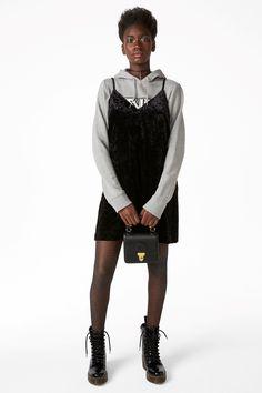 Monki Image 2 of V neck velvet slip dress in Black