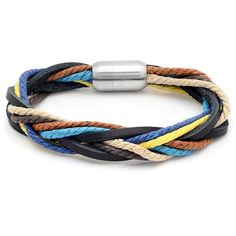 Get a fun, modern accent piece with this multicolored leather bracelet…