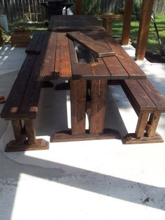 wooden table and chair for outside patio with hidden ice chest in table!