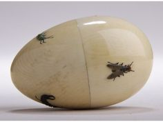 Carved Ivory Two-Part Ojime Sewing Egg WITH BEES