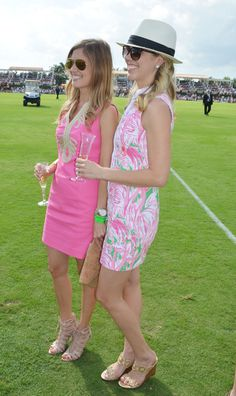 Lilly Pulitzer Janice Shift Dress & Alexa High Collar Shift Dress in Pink Colony worn by @palmbeachlately