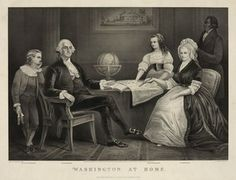 Engraving showing George Washington at Home with Family.