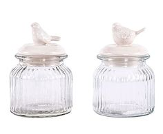Set de 2 tarros de cristal y cerámica Pájaros