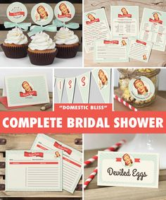 50s Housewife Bridal Shower Mega Pack // INSTANT DOWNLOAD // Retro Bridal Shower Games & Decorations // Mint // Printable DIY