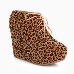Leopard Wedge Booties