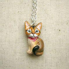 Pet portrait necklace. 3D version. Cat or dog by FlowerLandShop, $60.00