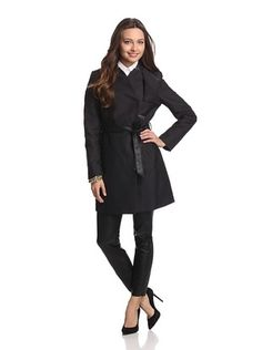 53% OFF French Connection Women's Inverted Collar Trench (Black)