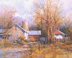 Ian Ramsay Watercolors Farm in Late Fall, Eden, Utah x image watercolor Watercolor Scenery, Watercolor Drawing, Watercolor Artists, Watercolor Landscape, Landscape Art, Watercolor Paintings, Watercolours, Art Pictures, Photos