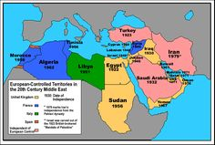 The Greater Middle East and the European nations that colonized them