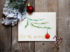 Handpainted Watercolor Holiday Card, Tis The Season Christmas Card, with Ornament Christmas Tree Card
