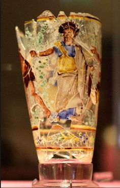 Roman glass painted goblet, 1st century A.D. Afghanistan, Begram, the main…
