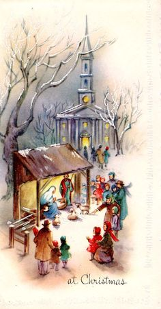 #Christmas #nativity #church (vintage greeting card depicting Nativity in front of church)