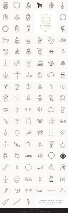 101 Festive Hand Drawn Elements EPS by Maggie Molloy on @creativemarket #christmas #handdrawn