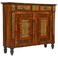 English Regency Brass Inlaid Rosewood Cabinet 19th Century