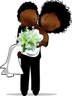 Desenho de noivinhos negros para personalização de lembranças para casamento,convites e outras aplicações.