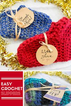 Keep your toes warm and toasty some fun and easy crochet slippers! A free pattern for beginners and experts alike for a quick seasonal project! | Hostess gift | Handmade Christmas | Slipper socks | Crochet booties | Do It Your Freaking Self