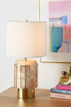 Madelyn Faceted Lamp Base by Anthropologie in Pink, Lighting Unique Table Lamps, Table Lamp Base, Lamp Bases, Butterfly Bedroom, Diy Home, Home Decor, Tiffany Lamps, Unique Lighting, Decorative Lighting