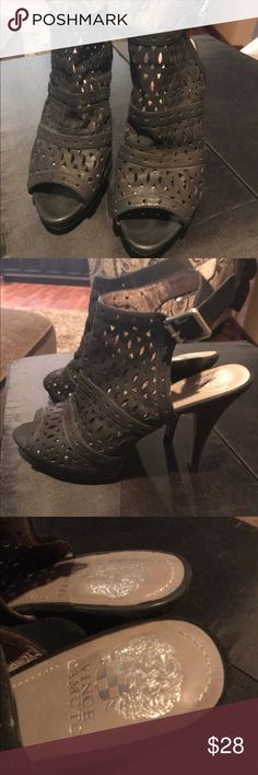 Vince Camuto ankle strap heels Vince Camuto black cutout ankle strap heels in good condition they have normal wear from use. Cute spring shoe with jeans or a dress. 4 inch heel. Vince Camuto Shoes Heels