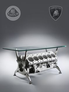 Bespoke Formula 1 Lamborghini Engine Block Table. The engine used in this coffee table was made for the Lotus F1 102 Racing Team by Lamborghini.