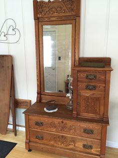 Early 1900s Antique Oak Dresser with Mirror