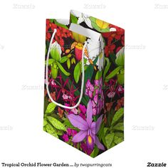Tropical Orchid Flower Garden Gift Bag Small Gift Bag