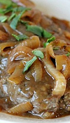Hamburger Steak with Onions and Brown Gravy