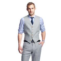 Ludlow suit vest in Irish linen, grey for groom (with jacket)