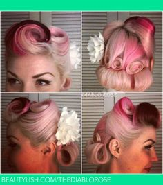 Vintage pin up hair with victory rolls and pin curls | Diablo R.'s (thediablorose) Photo | Beautylish