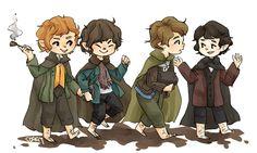 The four famous hobbits by DarkButterflyOfNight on DeviantArt