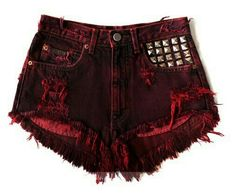 Red short with studs